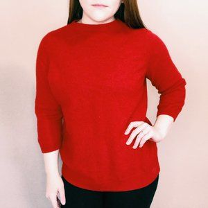 Talbots Bright Red Cashmere 3/4 Sleeve Sweater